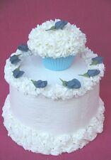"80 - 1 1/4"" Edible Blue Royal Icing Rosebuds Cupcake Toppers Cake Flowers"