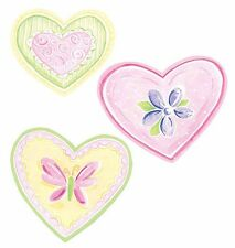 Pastel Hearts Butterfly Flowers 25 Wallies Pink Yellow Decal Decorate Girls Teen