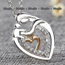 Rose Gold & Silver Mother Daughter Love Heart Necklaces Gifts For Her Women Mum