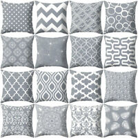 HK- 18'' Gray Geometric Square Throw Pillow Case Sofa Cushion Cover Home Decor N