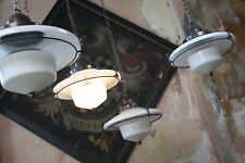 More details for mid c brass steel opaline glass flying saucer pendants lights four available
