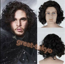 US SHIP Game of Thrones Jon Snow Wig Men's Short Black Curly Hairpieces Cosplay