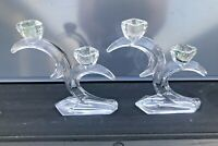 """PAIR Vintage """"Crescent Moon"""" Crystal/Glass Double Candle Holder; Dalzell Viking"""