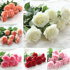 Artificial Single Head Fake Rose Flower Real Touch Wedding Bridal Bouquet Decor