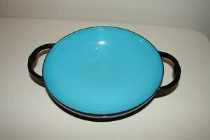"""Vintage Caravelle Sizzling Server 6"""" Turquoise Blue Handled Enamel Pan France"""