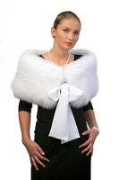 Womens Real Natural White Fox Fur Capelet Stole Women Bow Cape Wrap