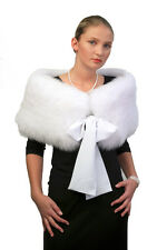 Real White Fox Fur Stole Cape Fur Bridal Shrug Wedding Shawl Wrap