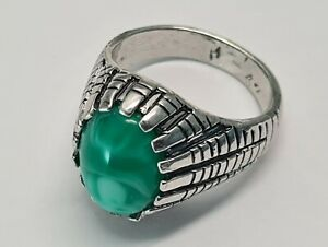 Men's Ring, Silver and Green Marble, UK Size: Q