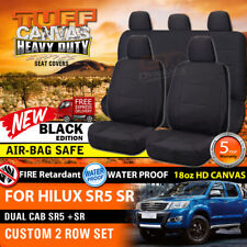 TUFF HD CANVAS Seat Covers for Toyota Hilux SR5 Dual Cab 2ROWs 5/2005-2015 BLACK