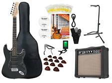 Pack Guitare Électrique Kit Stratocaster Noir Amplificateur 15W Housse Statif
