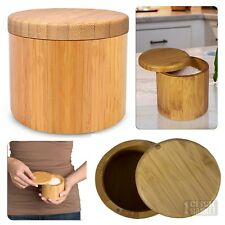 Bamboo Salt Pepper Box Kitchen Spices Round Container Storage Case Magnet Lid