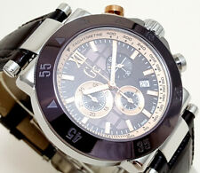 GUESS COLLECTION CHRONO STAINLESS STEEL LEATHER SAPPHIRE DATE 100m X90019G4S