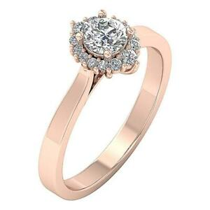 Halo Solitaire Engagement Ring I1 G 0.75 Ct Real Diamond 14K Solid Gold 3.75GRM