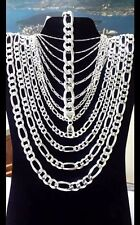 """ITALY 925 SOLID Sterling Silver FIGARO Chain Necklace or Bracelet  7"""" - 34"""" .925"""