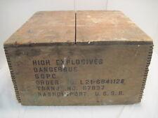 OLD WOOD HIGH EXPLOSIVES DANGEROUS S.G.P.C. RASNOIMPORT U.S.S.R. CRATE DOVETAIL