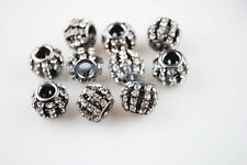 5pcs Crystal Rhinestones Charm Tube Spacer Big Hole Beads 10~20mm 5size for Pick