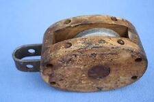 """Antique Wood And Metal Block Pulley Anvil Logo 3.5x1"""" wheel 8"""" long"""