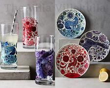 New Anthropologie NORDIC SUNRISE Dessert Plate & Glass 6 Pc .Set ~Owl, Fox, Deer