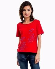 R1 Sexy Red Print Blouse shirt Floral short Sleeves Top Casual Summer S M L XL