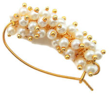INDIAN GOLD TONE GLOWING PEARL PIERCE NOSE RING TRADITIONAL MARATHI NATH JEWELRY
