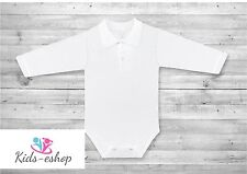 Baby Boy White Smart Polo Bodysuit with Collar Long Sleeve Cotton