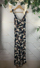 ZARA WOMAN Floral Navy Jumpsuit Ruffle Open Tie Back Size Medium