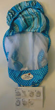 Cozy Sun & Bug Cover Baby Carrier Car Seat Blue Polka Dot Stripe Mesh Protection