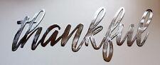 "Thankful Metal Wall Art Words Silver 14 1/2"" x 7"""