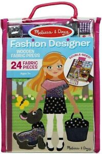 Melissa & Doug Fashion Designer Set Wooden Fabric Doll Press 24 Pcs New Kids Toy