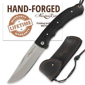 Folding Pocket Knife TAIGA Stainless Steel Blade Hornbeam Handle Leather Sheath