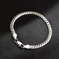 Men's 925 Sterling Silver Chains Bracelet Bangle Christmas Gift + Free Gift Bag