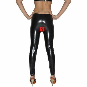 Brand New Open Crotch Latex Rubber Leggings Long Pants (one size)