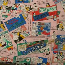 "Vtg 80s Comic Book cotton fabric home decor 60"" wide pink Jackpot BTHY"