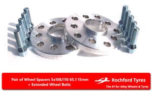 Wheel Spacers 15mm (2) 5x110 65.1 +Bolts For Alfa Romeo Brera V6 / JTD 05-10