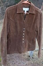 Woman's Brown Leather Blazer by Christopher & Banks; Size: Small