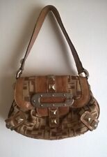guess purse satchel bag size s womens brown leather shoulder strap magnet snap