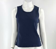 Laura Scott Tank Top Size Large Navy Blue Ribbed Sleeveless Basic Solid Womens