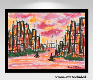 Mid-Century Modern Original Painting Cityscape Abstract Impressionism Surreal