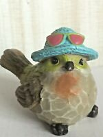 CUTE BIRD WITH BLUE HAT & GLASSES  RESIN FIGURINES CUTE NATURE HOME DECOR