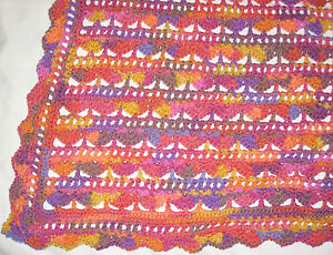 HANDMADE Crochet AFGHAN Knit THROW vtg LAP BLANKET Twin BED Chair COUCH Sofa ART