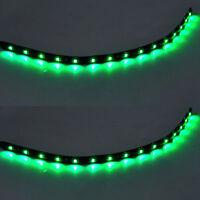2 X 15 LED 30cm SMD Car Vehicle Flexible Waterproof Strip Light Green 12V Sales