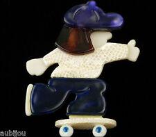 LEA STEIN PURPLE WHITE GIRL SKATEBOARDER CAP BROOCH PIN FRENCH RESIN PARIS