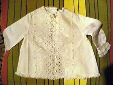 petite chemise enfant ancienne - coton  - broderie et dentelle -