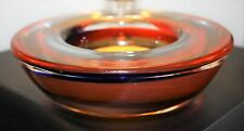 Murano Glass Geode Bowl Red/Blue/Black Art Glass 5.5 inches diameter