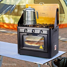 Portable Gas Oven Stove Cooker 2 Burner Camping Picnic Cooking BBQ Thermometer