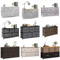 Chest of Fabric Drawers Dresser Furniture Wide 5 Bins Bedroom Storage Organizer