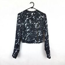 PORTMANS s 6 Womans Grey White Leopard Splash Style Asymmetrical Zip Crop Jacket