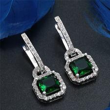 1Pari Women 925 Silver Emerald Earrings Eardrop Wedding Fashion Jewelry