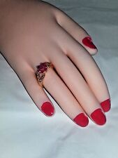 GOLD PLATE PINK CUBIC ZIRCONIAFLOWER COCKTAIL RING SIZE 9