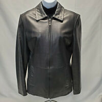 Women's Soft Black Leather Jacket-Size Sm - REED SPORTSWEAR - Lightweight Jacket